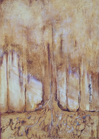 Autumn een structuur en acryl schilderij op hout 70 x100cm