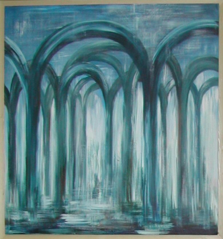 Blauw verhaal een acryl schilderij op hout 80 x 80cm gemaakt door Annet Schrander