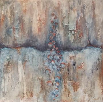 Boiling Earth een structuur, koper en acryl schilderij op hout 60 x 60cm gemaakt door Annet Schrander