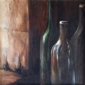 Spiegeling Flessen een acryl schilderij op hout 60 x 60cm gemaakt door Annet Schrander