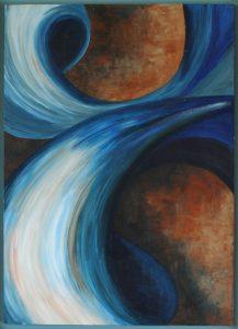Kracht een acryl schilderij op hout 50 x 70cm