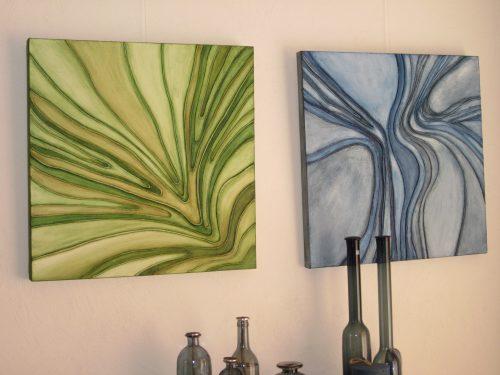 Delta groen en Delta blauw, een materie schilderij een structuur, touw en acryl schilderij op hout 60 x 60cm gemaakt door Annet Schrander