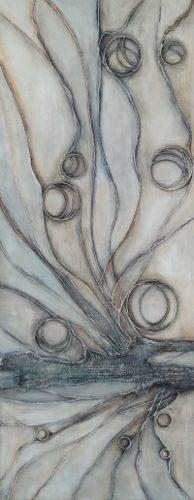Nature een structuur, gel, koper, touw en acryl schilderij op hout 40 x 100cm gemaakt door Annet Schrander