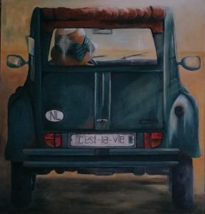 Nazomeren Deux Chevaux een Acryl schilderij op hout 80 x 80 cm gemaakt door Annet Schrander