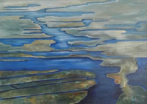 Water dichtbij een acryl schilderij 100 x 70cm gemaakt door Annet Schrander