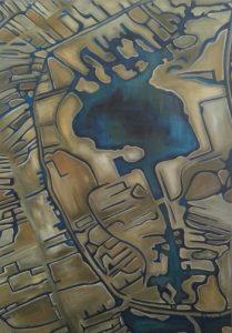 Water veraf een acryl schilderij 70 x 100cm gemaakt door Annet Schrander